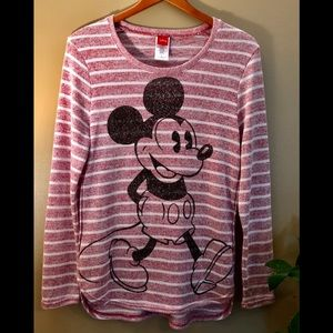 Disney Mickey Mouse Cozy Striped Sweater Size L